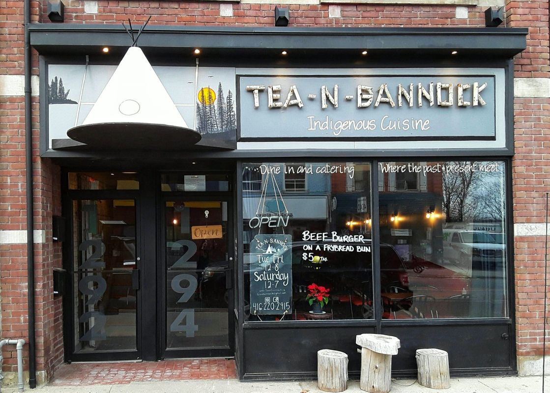 restaurant window of Tea-N-Bannock Toronto
