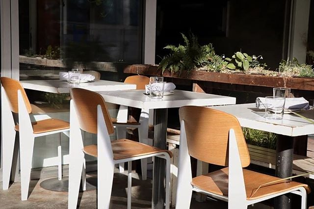 outdoor seating area of Farmer's Apprentice restaurant in Vancouver