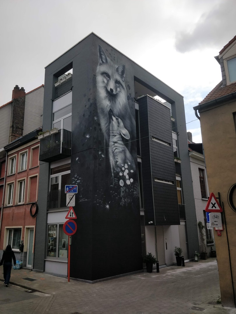 Belgium - Street art foxes by Kitsune in Ghent