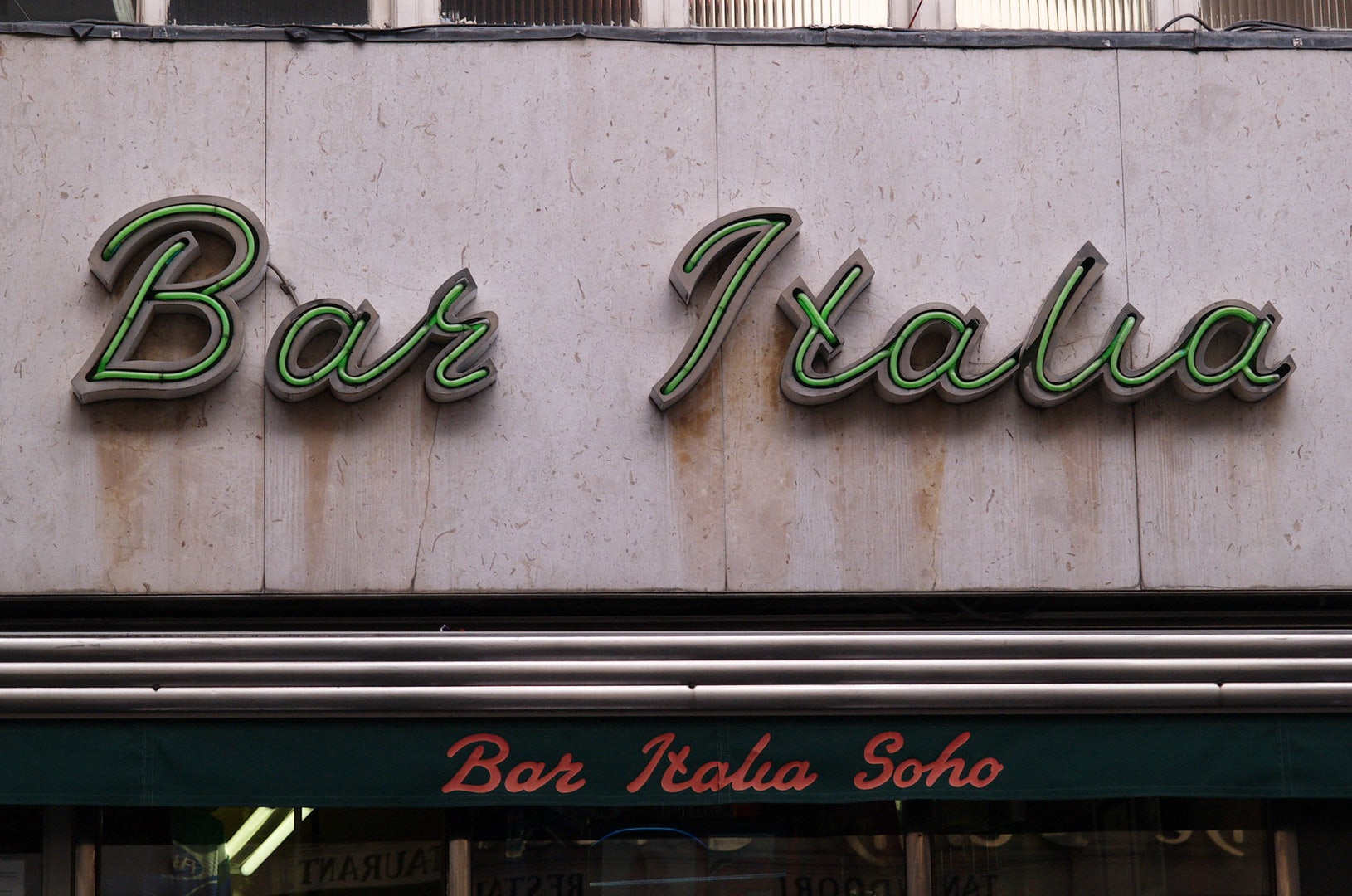 facade of Bar Italia in London