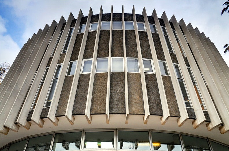 symmetrical exterior of the Swiss Cottage central Library London
