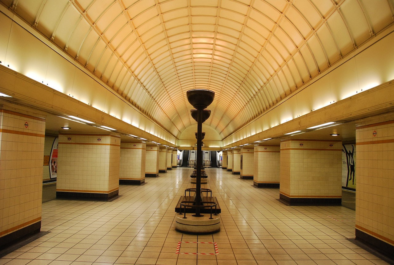 vintage interior of Gants Hill underground station in London