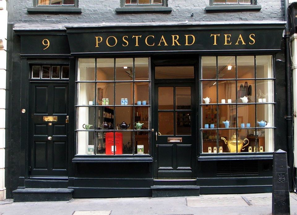 shop facade of Postcard Teas in London