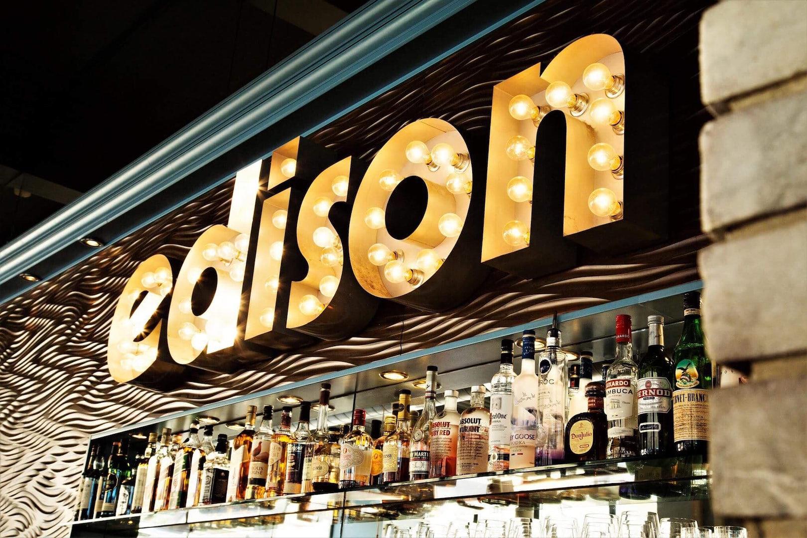 light sign at cocktail bar Edison
