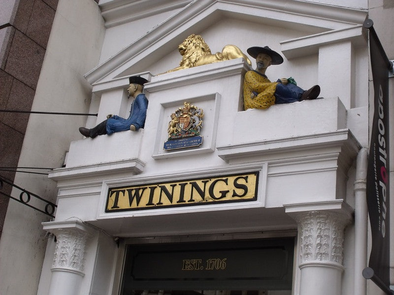 entrance of the Twinings flagship store in Covent Garden