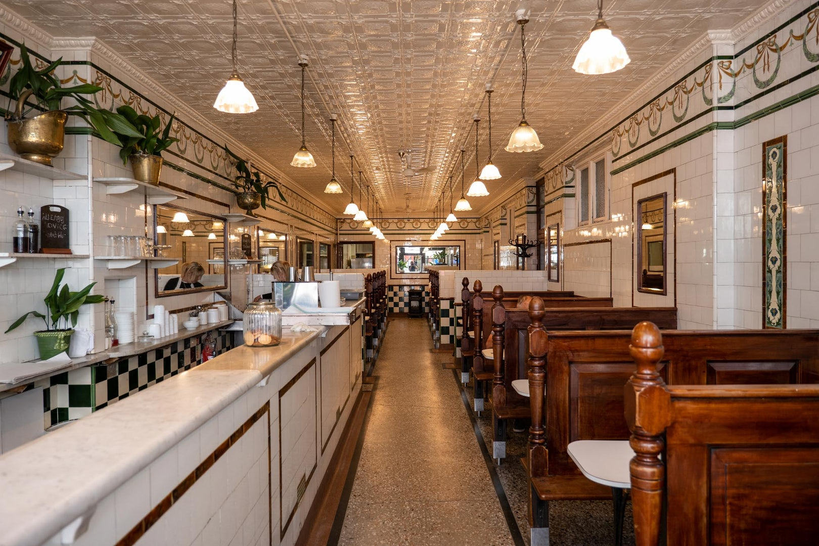 retro interior at The Jellied Eel pie and mash restaurant
