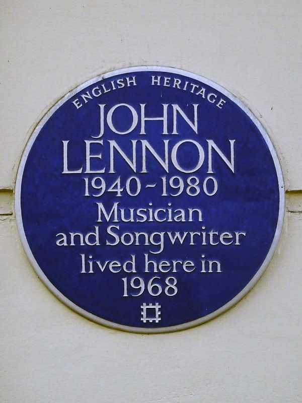 plaque in memory of John Lennon at 34 Montagu Square