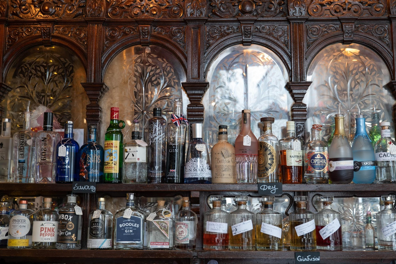 bottles of quality gin at the Viaduct Tavern