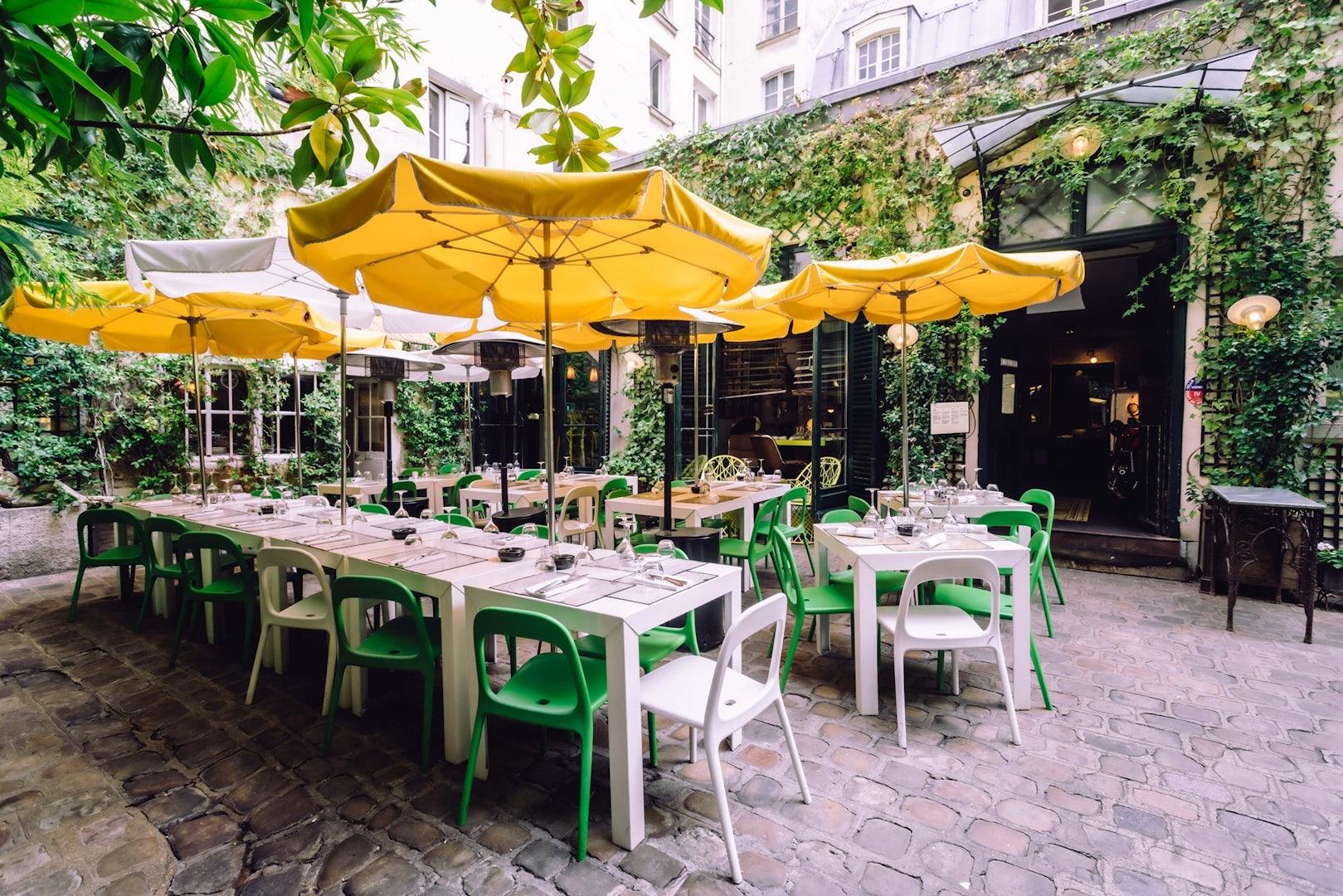 exterior terrace at Derriere Paris