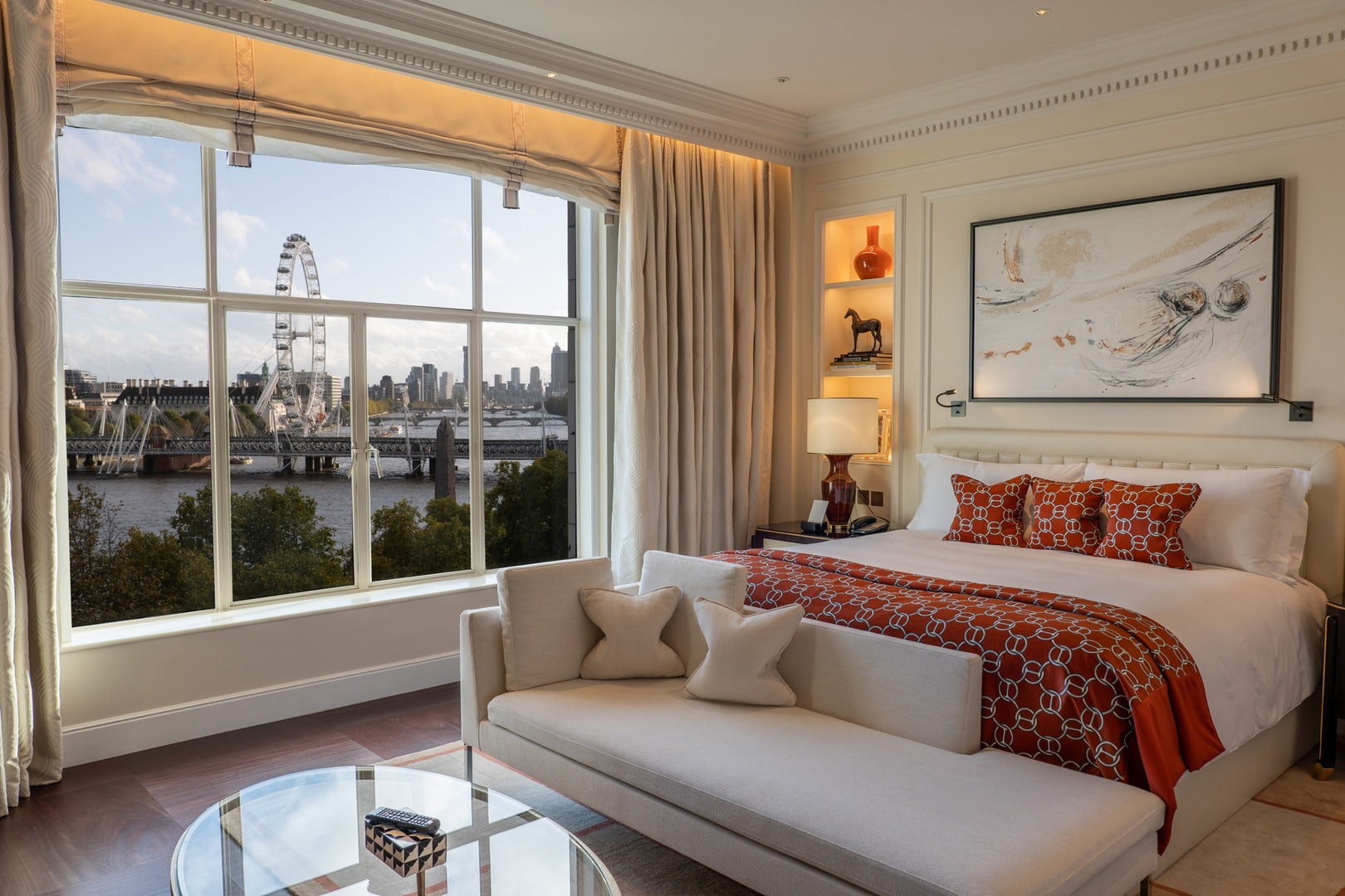 a room with a view of the London Eye at the Savoy