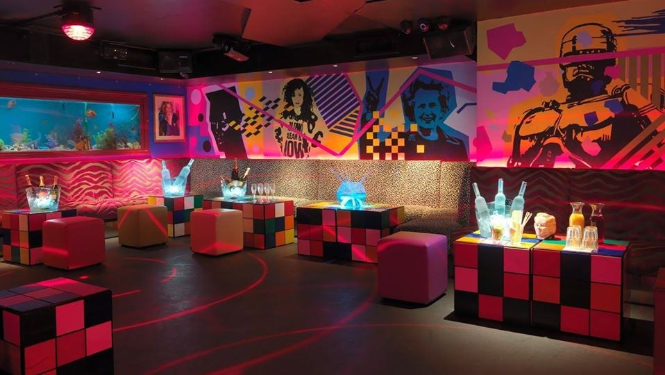 colourful retro interior of Maggie's Club