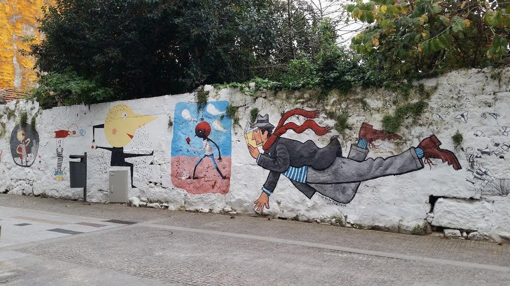 Mural painting at the Bairro das Artes in Porto