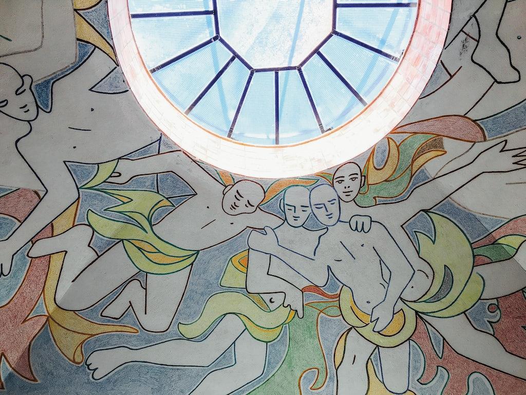 art by Jean Cocteau on the ceiling of the Chapelle Notre-Dame-de-Jérusalem