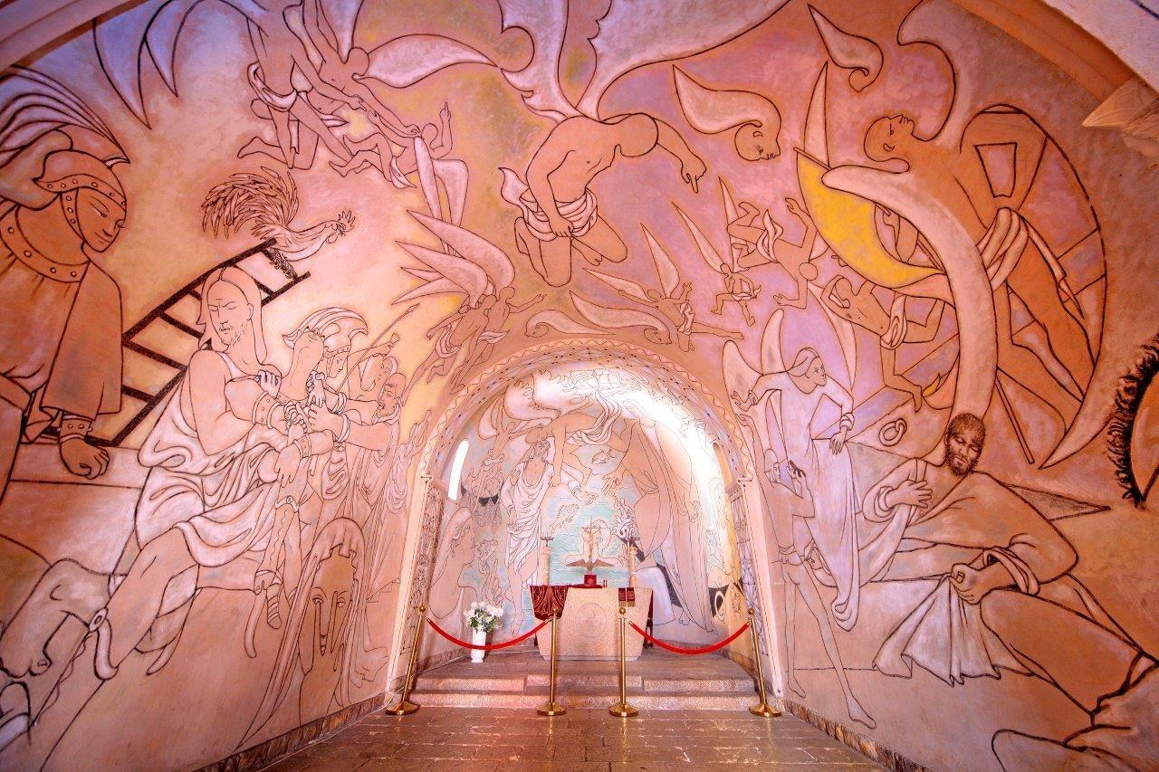 beautifully painted interior of the Chapelle de Saint-Pierre des Pêcheurs by artist Jean Cocteau