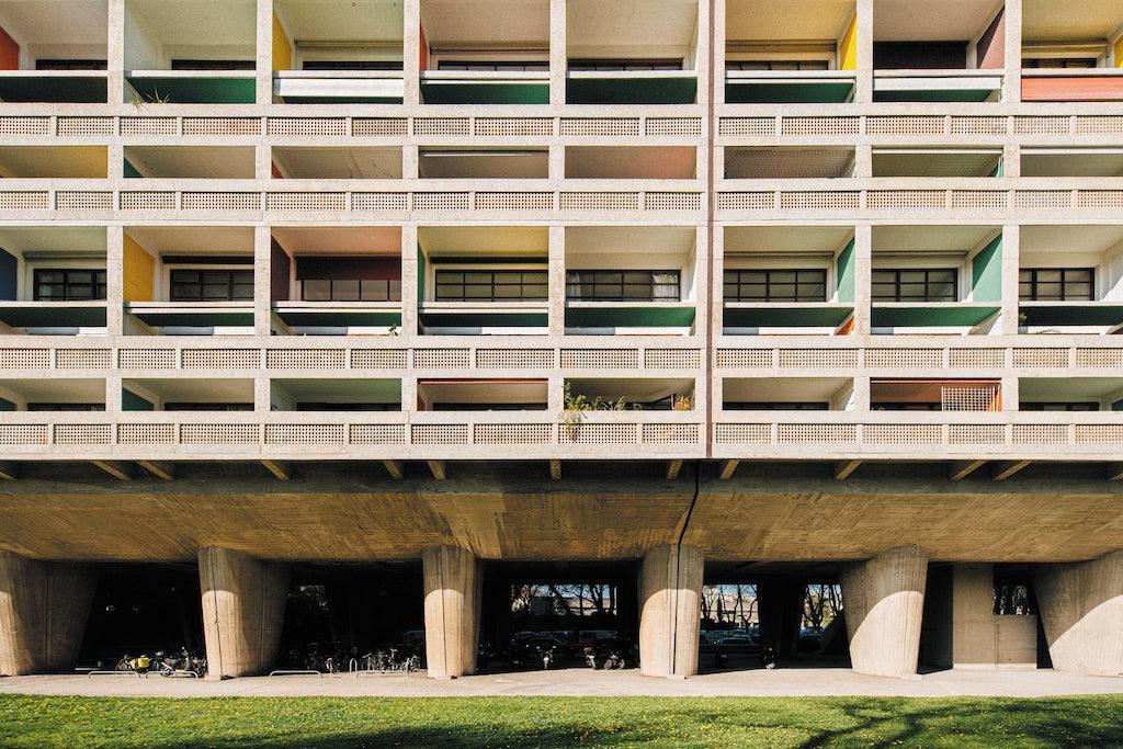 colourful balconies at the Cité Radieuse Le Corbusier