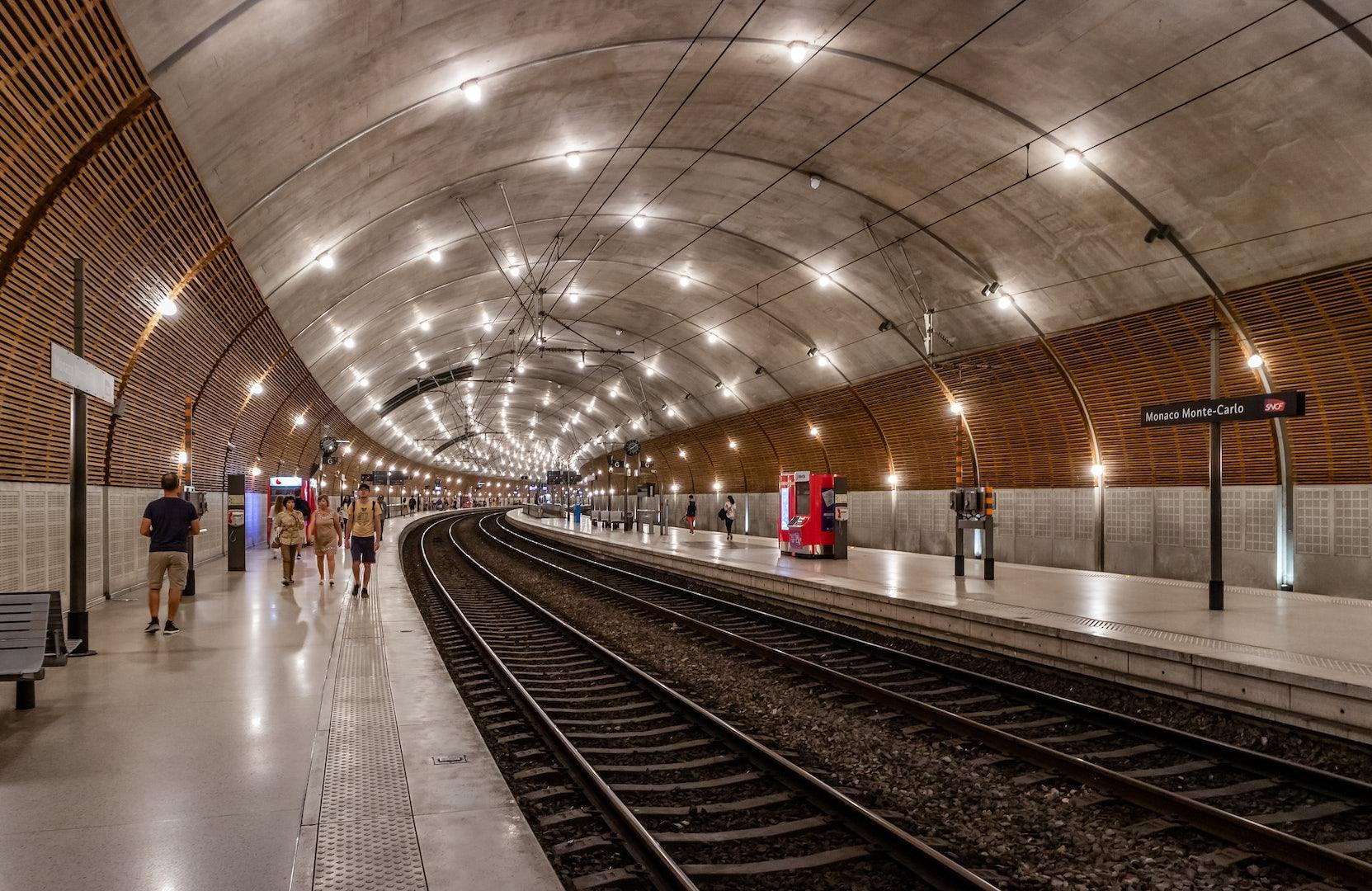the interior of the train station in Monaco