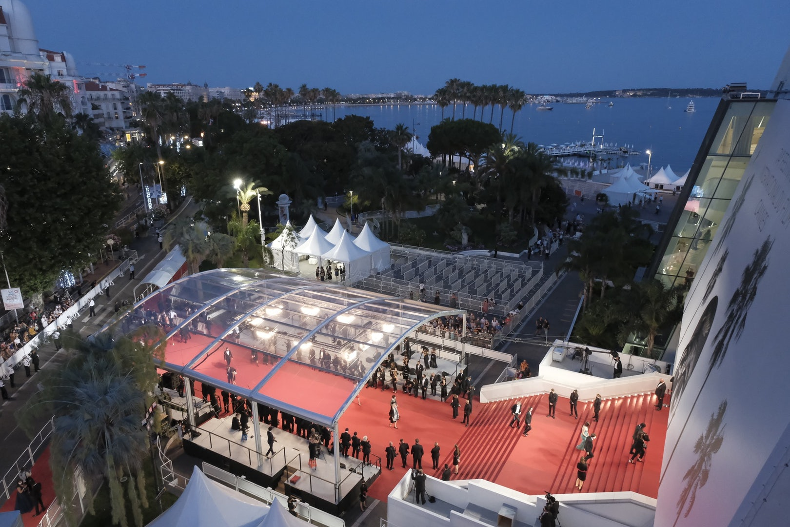 an aerial view of the red carpet at the Festival de Cannes