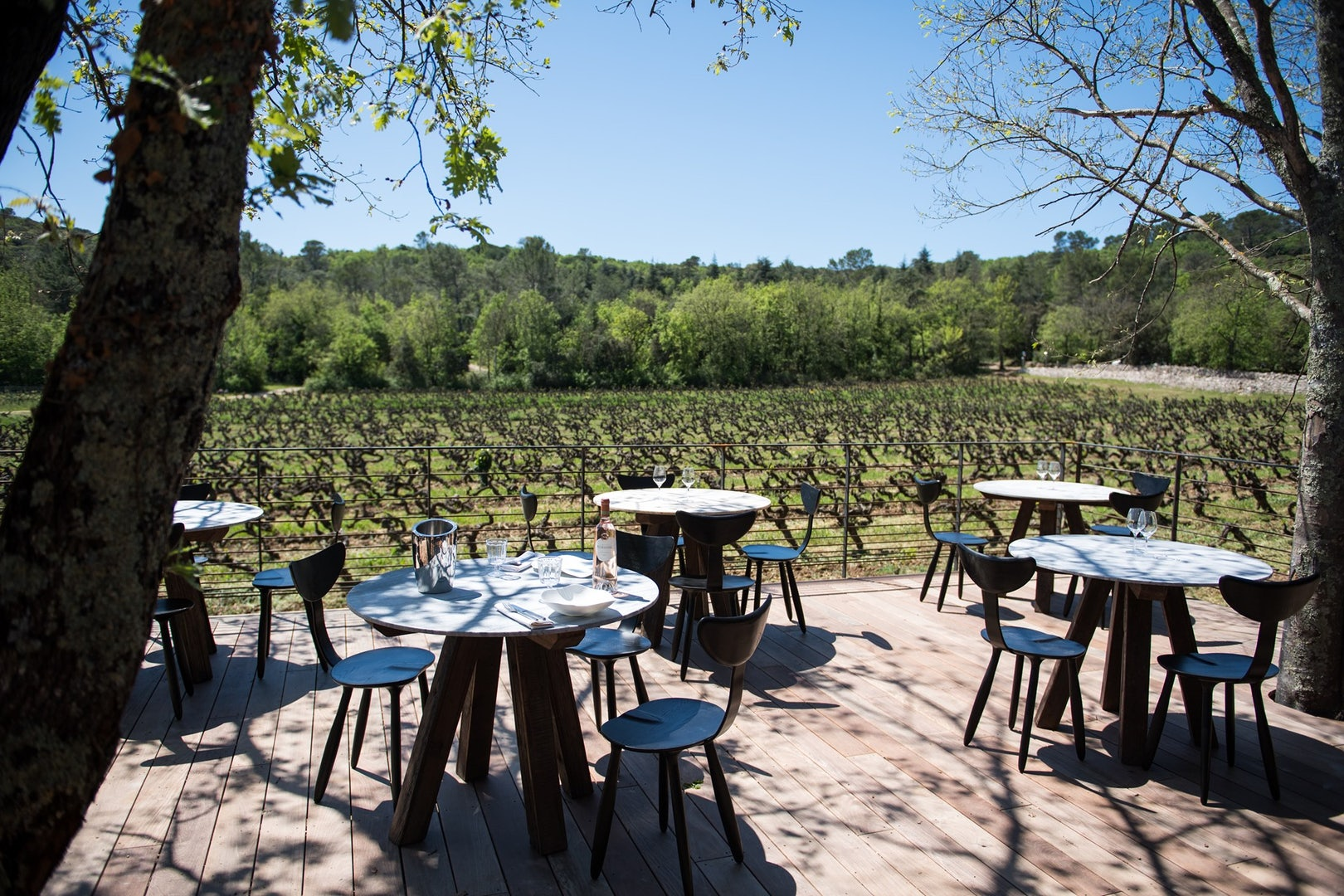 sunny terrace in front of the wineyard at Peyrassol