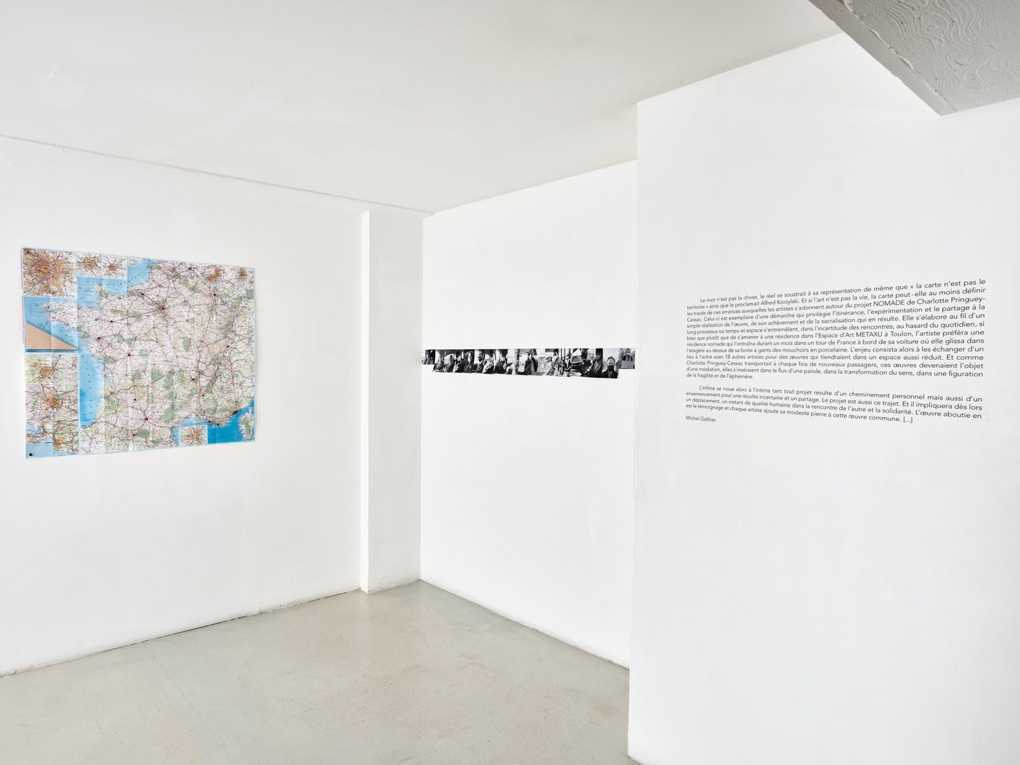 art works on a blank wall at Galerie Eva Vautier