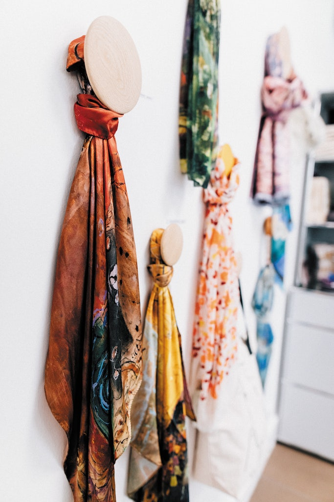 silk scarves at the museum shop of Musée Bonnard in Le Cannet