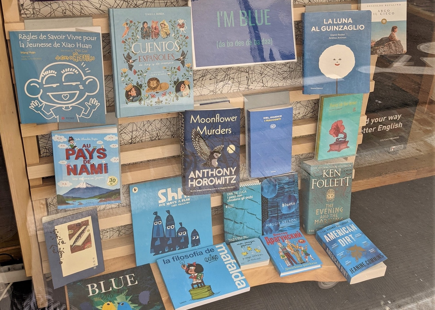a collection of books with blue covers in the store window of Ombres Blanches