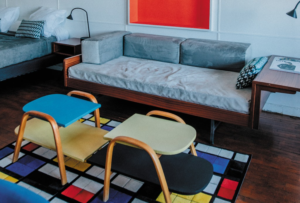 colourful and artsy styled room at the Hotel Le Corbusier