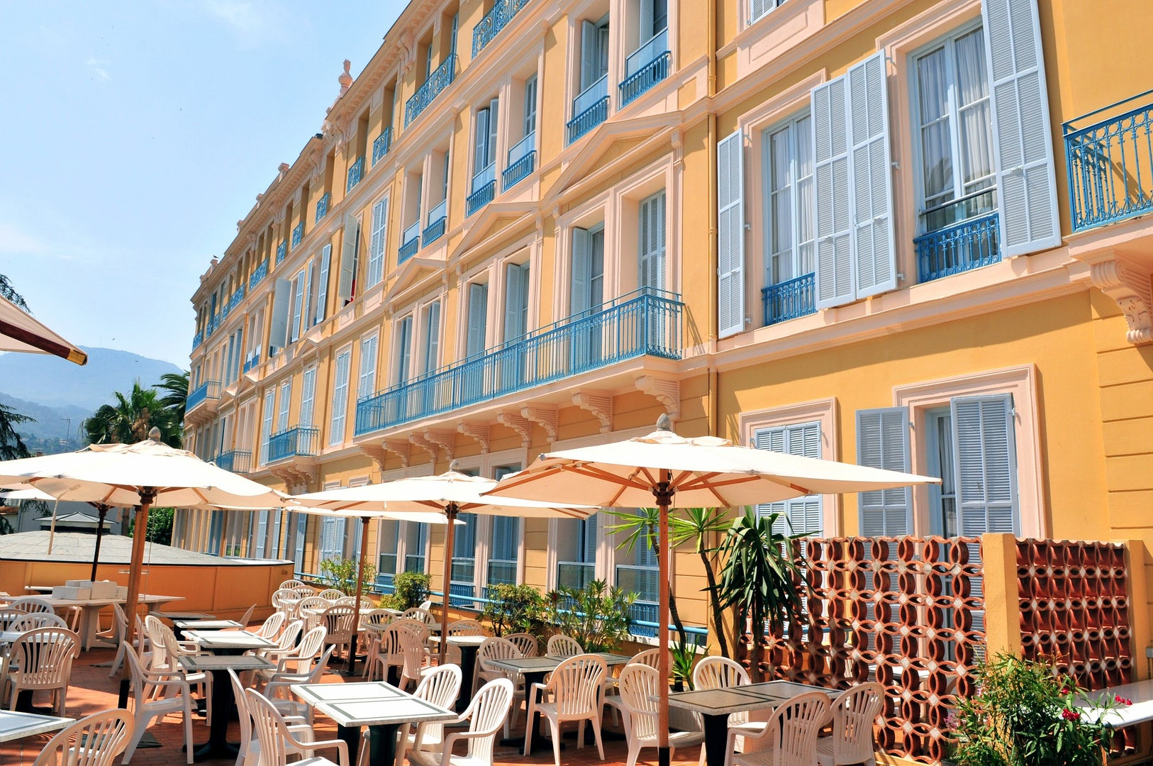 sunny terrace at hotel L'Orangeraie