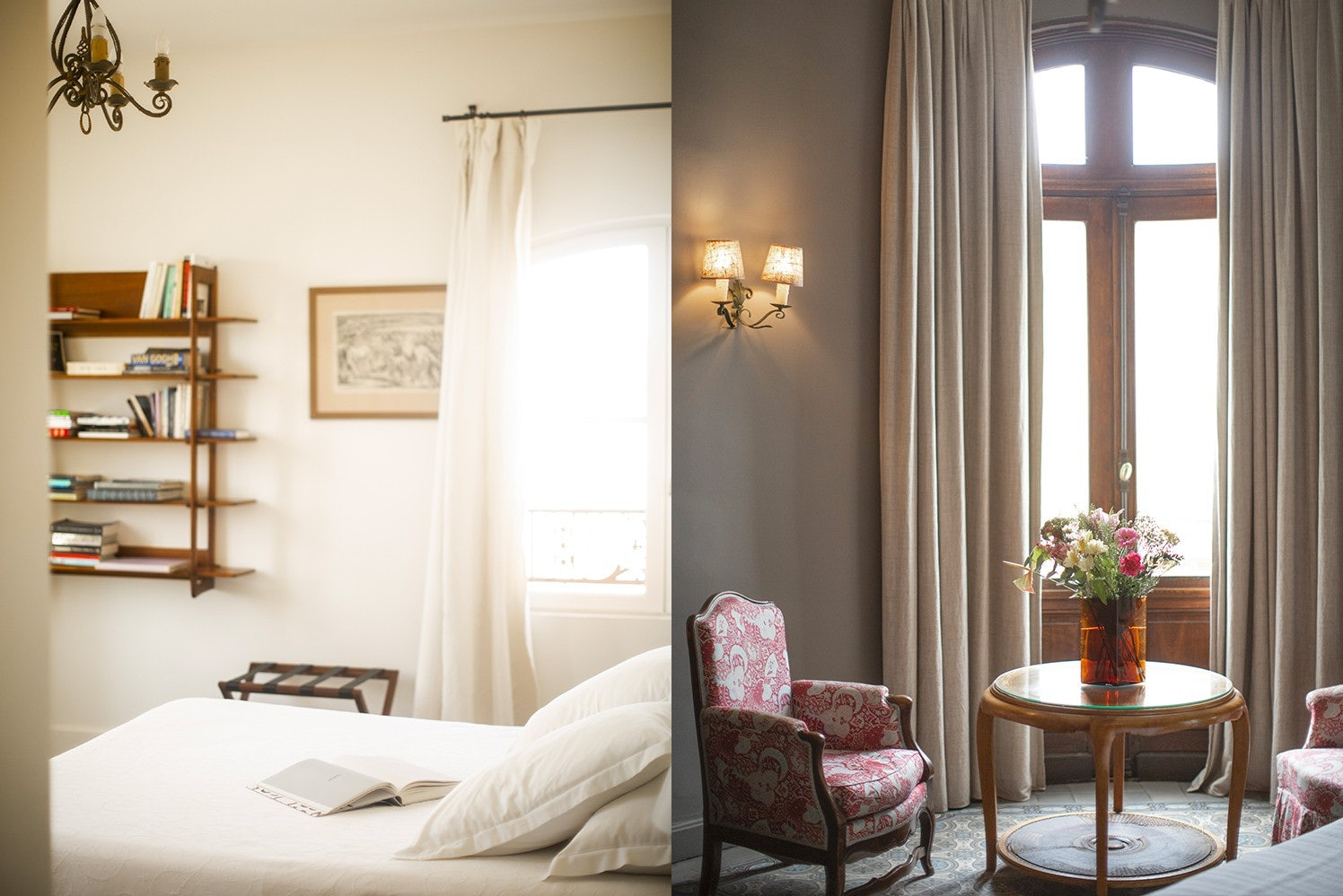 interior of bedroom and seating area of a suite at the Nord Pinus hotel in Arles