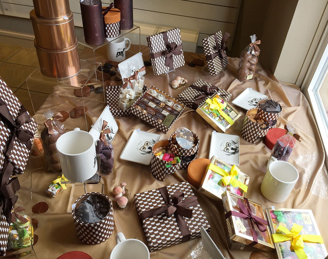 a table displayed at Irsi full of chocolate and sweets