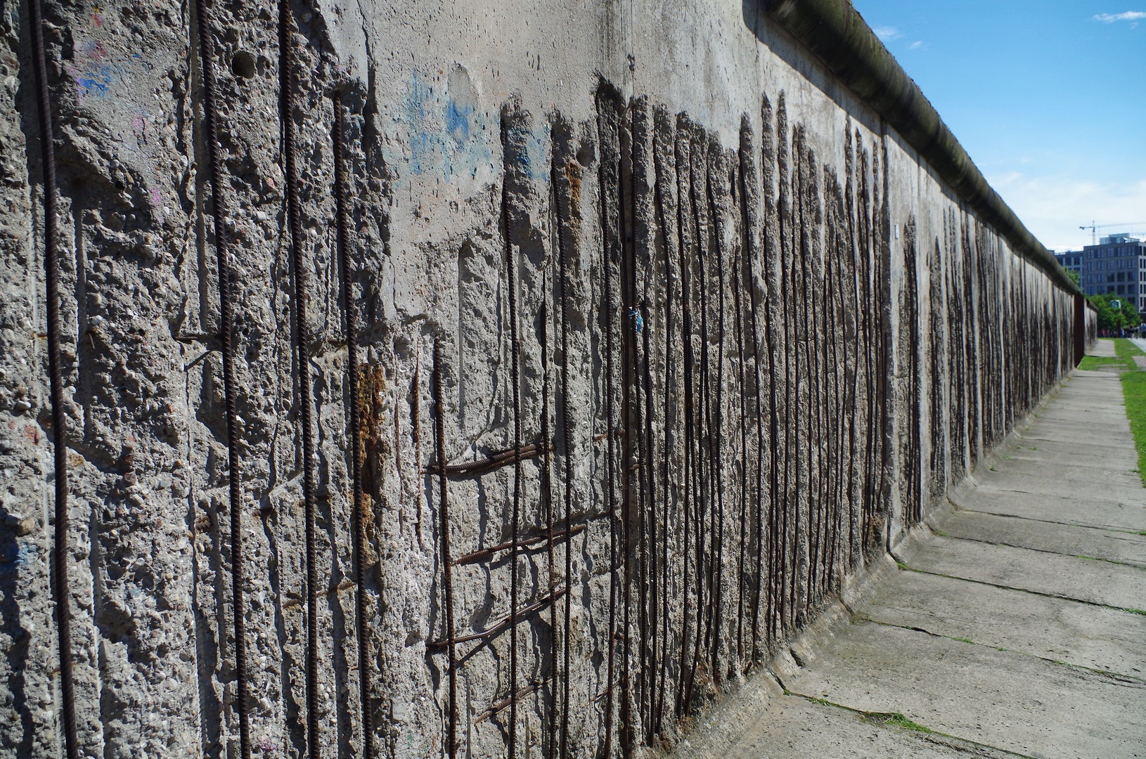 Berlin wall memorial at the Bernauerstrasse where you still see a piece of the wall