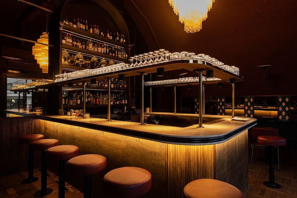 sleek interior of cocktail bar Smokey Kudu in London