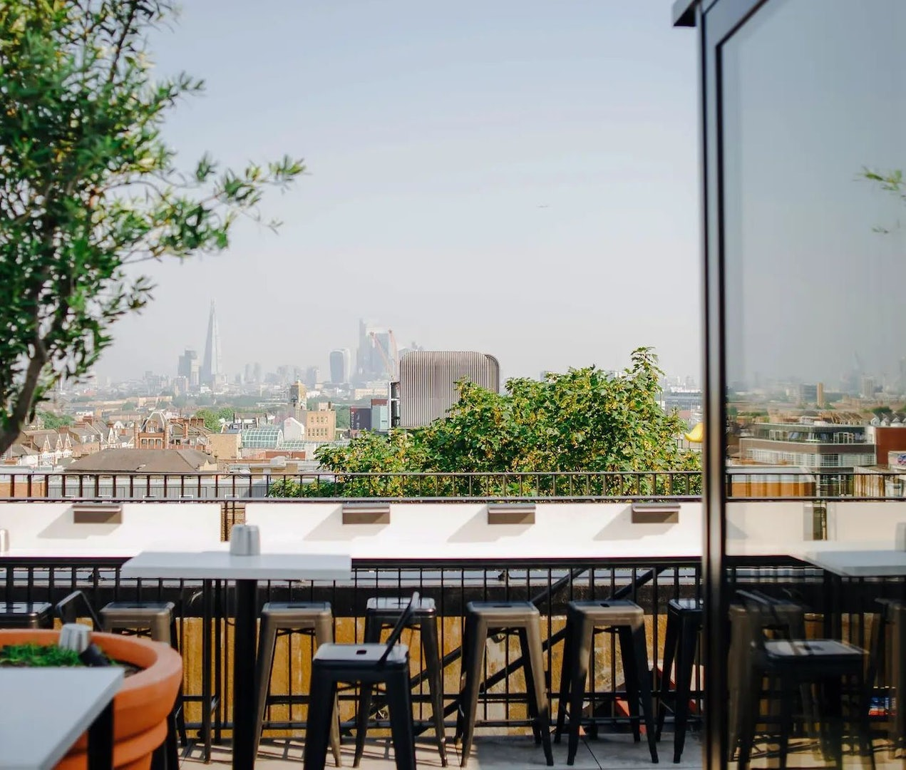 view from the terrace at Forza Wine over London city