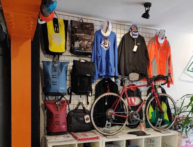 interior and products at Machine bike shop in London