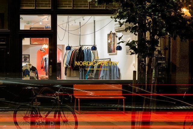 store window of vintage store Nordic Poetry